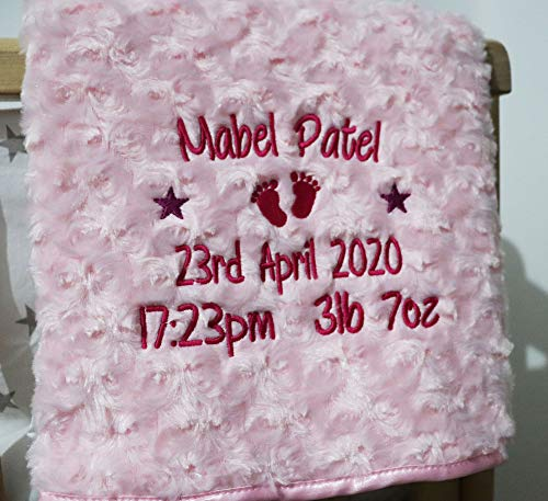 Personalised Baby Blanket Luxury Rosebud Style Pink Round Font Name Date...
