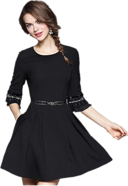 Fashionable New Lotus Sleeve Slim Long Dress , black , xl