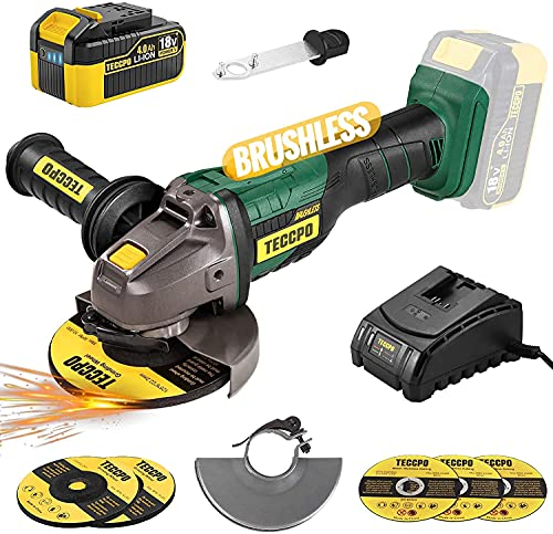 Brushless Cordless Angle Grinder 20V MAX, POPOMAN 4-1/2 Inch 10000RPM Cordless Grinder with 4.0Ah Lithium-ion Battery & Fast Charger, 3-Position Auxiliary Handle, Cutting Wheel&Grinding Wheel included