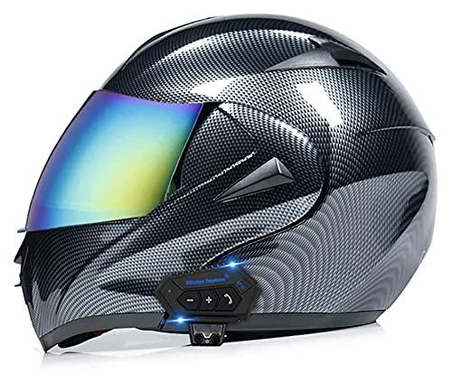 YLFC Casco De Motocicleta Integrado con Bluetooth, Intercomunicador FM MP3 Incorporado Sistema De Comunicación Casco Modular Casco De Ciclomotor Certificado ECE/Dot (Color : D, Size : XL)