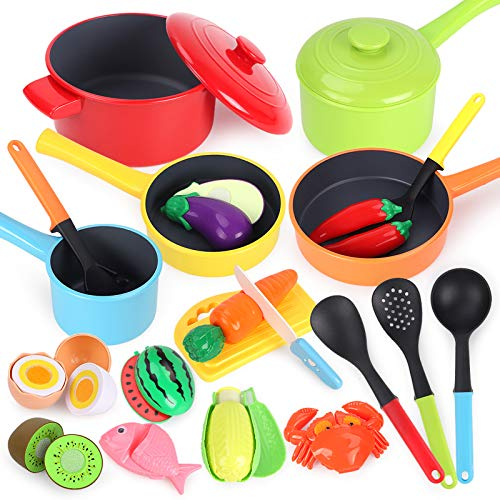 GILOBABY Kitchen Pretend Toy, Role Play Cutting Fruits Food Toy& Cookware Pots& Pans Set, Educational Gift Toy for Kid Girl Boy Toddler Age 3,4,5,6,7,8, Cooking Utensils Vegetables Toys for Children