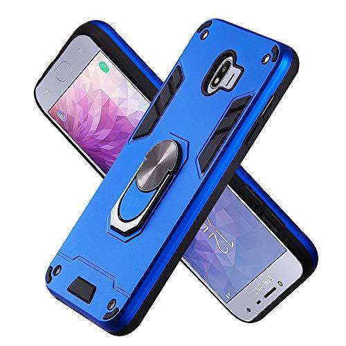 FAWUMAN Hülle für Samsung Galaxy J4 (2018) mit Standfunktion, PC + TPU Rüstung Defender Ganzkörperschutz Hard Bumper Silikon Handyhülle stossfest Schutzhülle Case (Dunkelblau)