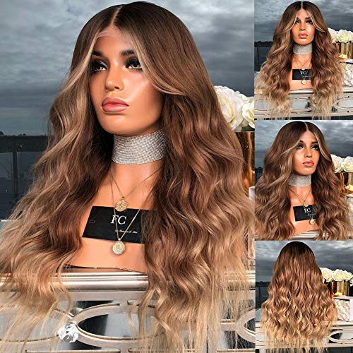 CYX-BEAUTY Big Wavy Mixte Brown Centre Parting Longue Perruque Frisée - 27\