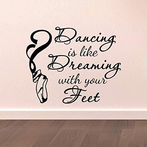 Dance Wall Decal Vinilos Decorativos Bailar Es Como Soñar Con Tus Pies Bailarina Bailarina Zapatillas De Ballet Arte Mural 52X42Cm
