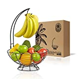 Regal Trunk Fruit Basket With Banana Hanger- Farmhouse Fruit Bowl With Banana Holder Tree | Vegetable and Fruit Holder With Detachable Banana Stand | Fruit Bowl For Kitchen Counter - Medium Size
