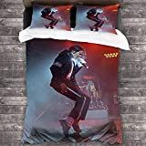 CUICUI Michael Jackson Juego de ropa de cama, adecuado para adultos y niños, juego de funda nórdica con animación 3D, cuidado fácil y cálido (MJ3, 200 x 200 cm + 80 x 80 cm x 2)