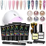 SXC P-02 Polygel Nail Kit with UV Lamp 6 colors 30ML Builder Extension Gel, 6pcs Beautiful Glitter Powders, 24w Fast Nail Dryer All-In-One Nail Enhancement Starter Gel Nail Technician Set
