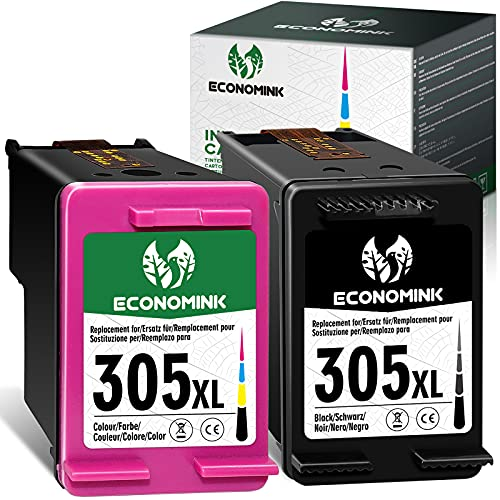 Cartucho de tinta remanufacturado Economink para HP 305XL 305 XL de alto rendimiento para DeskJet Plus 2700 4110 4120 4122 HP Envy 6000 6010 6020 HP Envy Pro 6420 6422 6430 6400(1 Negro,1 Color)