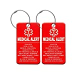 Medical Alert Tag - Medical ID Tag - Customized Engraved Info - Medical Patients - Luggage Tag - Equipment Luggage Tags - Respiratory (2 Pack)