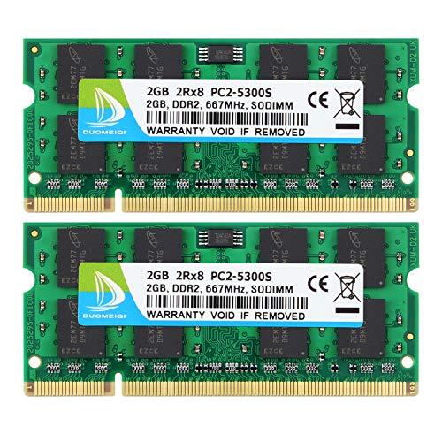 DUOMEIQI 4GB (2X 2GB) 2RX8 PC2-5300 PC2-5400 PC2-5300S DDR2 667MHz CL5 200 Pin 1.8v SODIMM Notebook RAM Non-ECC Unbuffered Laptop Memory Module