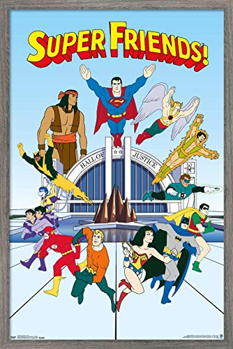 Trends International DC Comics TV - Super Friends - Team Wall Poster, 14.725' x 22.375', Barnwood Framed Version