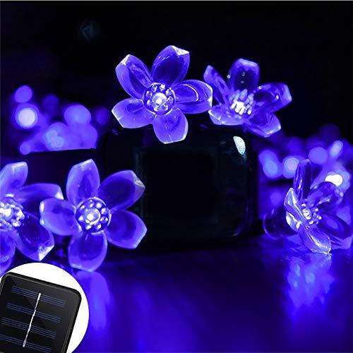 Luces de Hadas Flor Solar, Cuerdas Solares Luces Jardín 7M 50 LED Luces de Cuerdas Solares para Árbol de Navidad, Patio, Jardín, Terraza y Exteriores e Interiores,Azul