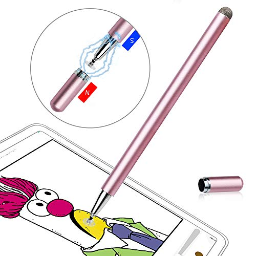 Stylus Pens for Touch Screens, LIBERRWAY Disc Stylus Pen Fiber Stylus with Magnetically Attached Cap, Compatible with ipad iPhone Chromebook, Rosegold
