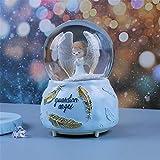 ROMDEANK Bola de cristal musical azul ángel caja de música bola de nieve de resina adecuada para regalos de fiesta bolas y adornos 10 cm x 15 cm