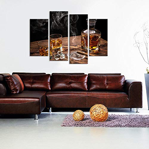 woplmh Home Decor Canvas Wall Art -4 Panelen Prints Glas van Whiskey Met Rokerige Sigaret Op Houten Tafel-30x60cmx2p 30x80x2p Geen frame