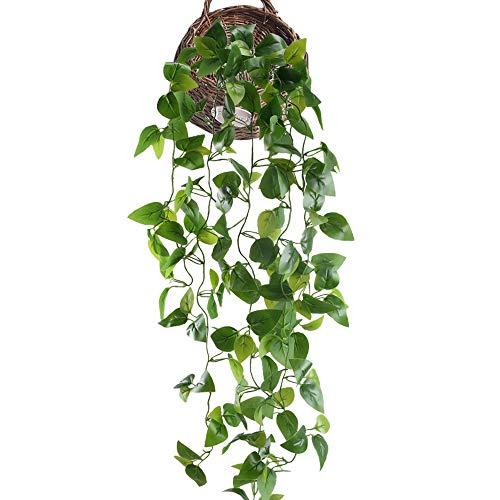 HUAESIN Planta Artificial Colgante 105cm Hiedra Artificial Hojas Guirnalda Follaje Verde Decoracion Potos Plastico Enredadera Artificial para Exterior Interior Maceta Balcon Cocina Baño Valla Jardin