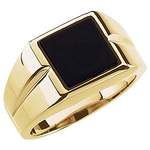JewelryWeb Herren-Ring 14 Karat Gelbgold 10 x 10 mm Onyx poliert Größe V 1/2