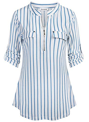 Ninedaily Striped Long Sleeve Shirt Women, Slim Fit Blouses Fitted Elbow Patch Colorful Off Shoulder Maternity Comfy Tunic Tops for Leggings for Women,Sky Blue Striped White Undershirts,Plus Size XXL