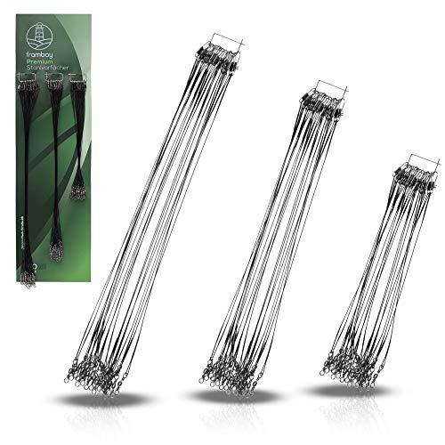 Frambay Premium Stahlvorfächer 60 STK. – hochwertige Edelstahl Vorfächer - Vorfach mit Wirbel – Längen 15/20/25 cm – praktisches Angelzubehör zum Einsatz beim Raubfischangeln (60 STK. Edelstahl)