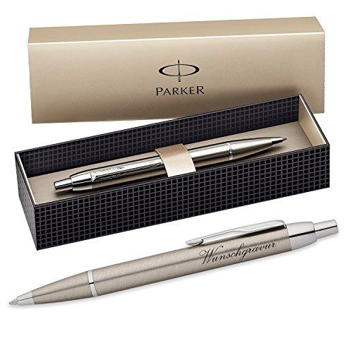 polar-effekt Parker IM Kugelschreiber mit Gravur - Farbe Metall Gold - Großraummine blauschreibend mit Geschenk-Etui - Druckkugelschreiber Geschenkidee zum Geburtstag