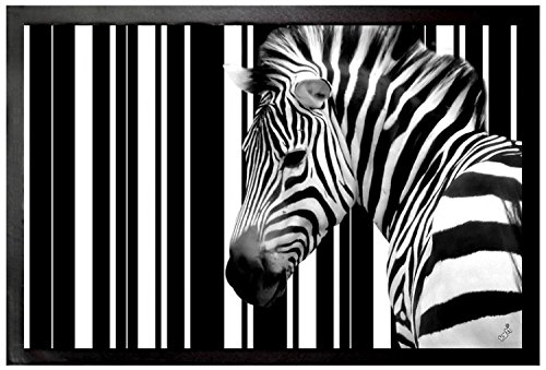1art1 Zebras - Código De Barras, Zebra Felpudo Alfombra (60 x 40cm)