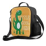 Delerain - Bolsa de almuerzo con diseño de dinosaurio, con asa y correa para el hombro, bolsa para aperitivos para niños, niñas, niños, preescolar, oficina, picnic