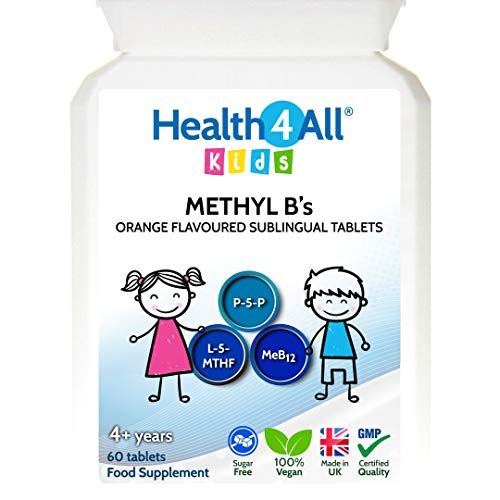 Kids Methyl B's 60 Tablets. Sublingual Vegan pre-methylated B12 Methylcobalamin, 5-Methylfolate and P-5-P for Children for Stress & Mood Support