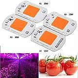 Lamparas LED Cultivo Interior Hydroponice 20w 30w 50w Cob Growl Light Chip Phyto Lamp Full Spectrum 380nm-840nm Para Plantas De Interior Grow Lights 50W 220V