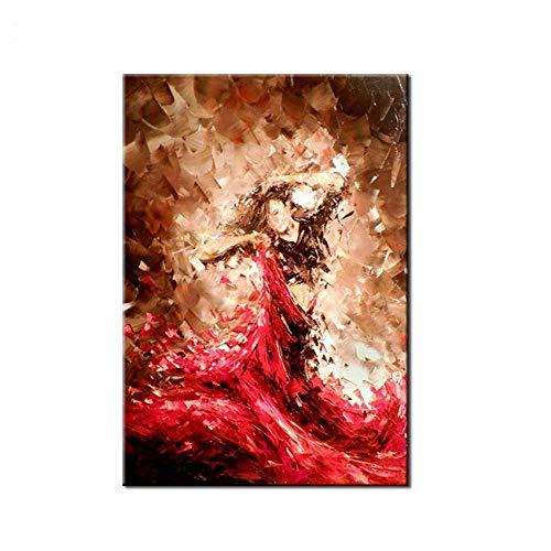 WunM Studio Ölgemälde Auf Leinwand Handgemalt, Moderne Abstrakte Abbildung Portrait Gemälde, Sexy Frau Tänzerin Im Roten Kleid, Große Kunst Dekor Für Wand Home Eingang Wohnzimmer Schlafzimmer Büro
