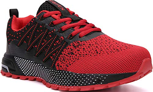 SOLLOMENSI Zapatillas de Deporte Hombres Mujer Running Zapatos para Correr Gimnasio Sneakers Deportivas Padel Transpirables Casual Montaña 43 EU H Rojo