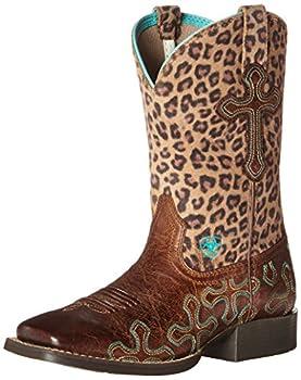 Ariat Girls Crossroads Western Boot Wood/Cheetah 3.5 Little Kid