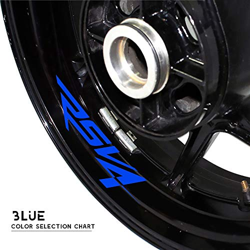 PUXINGPING- Rueda neumático de la Motocicleta Pegatinas Reflectantes de Gaza Calcomanías Personalizado Decorativo Pegatinas for Aprilia RSV4 (Color : Blue)