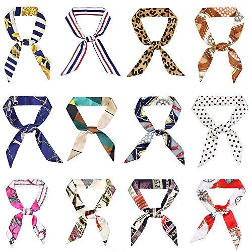 Lamdgbway 12 pcs Hairband Head Scarf Handbag Ruban Neckerchief Scarf pour les femmes (12 Styles - 2)