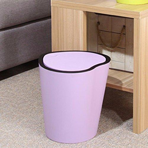 HQLCX Bacs à ordures Cœur De Style Européen De Façon Créative Salon Seau De Poubelle En Plastique Avec Couvercle Sur Les Poubelles De Cuisine,Violet