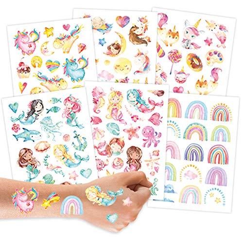 Papierdrachen 100 Tattoos zum Aufkleben - Hautfreundliche Kindertattoos Meerjungfrau - kindgerechte Designs - als Geburtstagsmitgebsel oder Geschenkidee - vegan