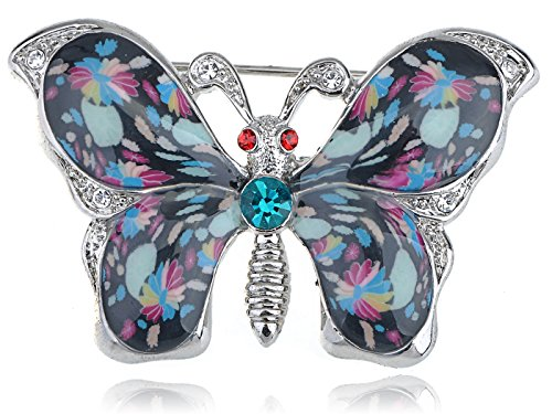ALILANG Damen Silber Klar Strass Blume Emaille Lila Schmetterlings Flügel Brosche