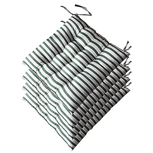 AGDLLYD Seat Cushion and Pads With Ties 40x40x5cm,Set of 4 Beautiful Striped Reversible Kitchen Dining Garden Chair Cushion for Indoor Outdoor Furnitures. (Green)