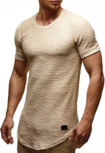 Leif Nelson Herren Sommer T-Shirt Rundhals-Ausschnitt Slim Fit Baumwolle-Anteil Moderner Männer T-Shirt Crew Neck Hoodie-Sweatshirt Kurzarm lang LN6324 Beige S