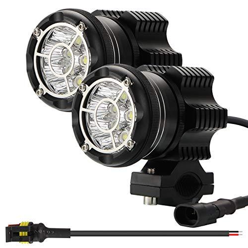 Kairiyard Runde LED Fernlicht EVO 90W 6000K 9000lm CREE Chip Zusätzliches Licht Motorrad Hochtragende Scheinwerfer Scheinwerferstrahl+Blitz Dual Mode CNC Hartglasglas IP68