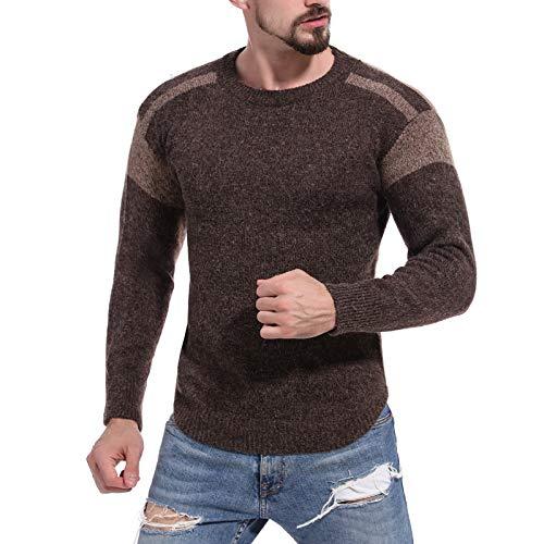 Jersey Ajustado para Hombre, suéter con Personalidad, Costura, Bloqueo de Color, Otoño Invierno, cálido, Informal, de Manga Larga, Prendas de Punto Large