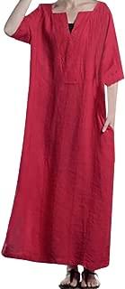 Women Dress Ladies Ethnic Simple Loose Kaftan Long Sleeve V Neck Long Maxi Dress