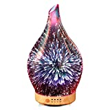 Essential Oil Diffuser 3D Glass Aromatherapy Ultrasonic Humidifier - 7 Color Changing LEDs, Auto Shut-Off,Timer Setting, BPA Free for Home Hotel Yoga Leisure SPA Gift 100ml