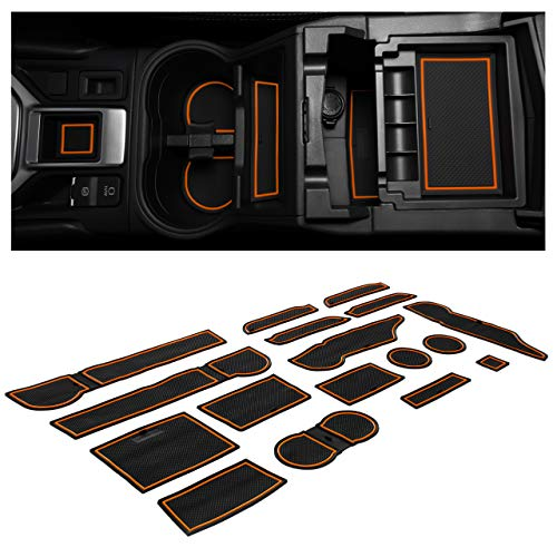 CupHolderHero compatible with Subaru Forester Accessories 2019-2021 Premium Custom Interior Non-Slip Anti Dust Cup Holder Inserts, Center Console Liner Mats, Door Pocket Liners 17-pc Set (Orange Trim)