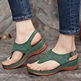 MTHDD Sommer Sandale Damen Mode Clip Zehentrenner Bequeme Casual Strandsandalen,Grün,39