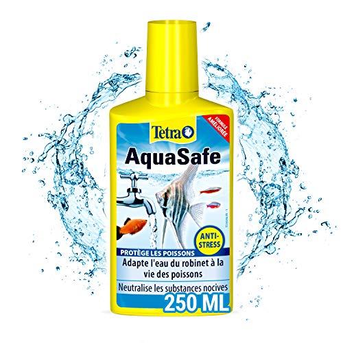 TETRA AquaSafe - Conditionneur d'Eau Naturel pour Poissons tropicaux -Agit en 5 mn - Eau Douce et Eau de Mer - Anti-Chlore - 250 ml