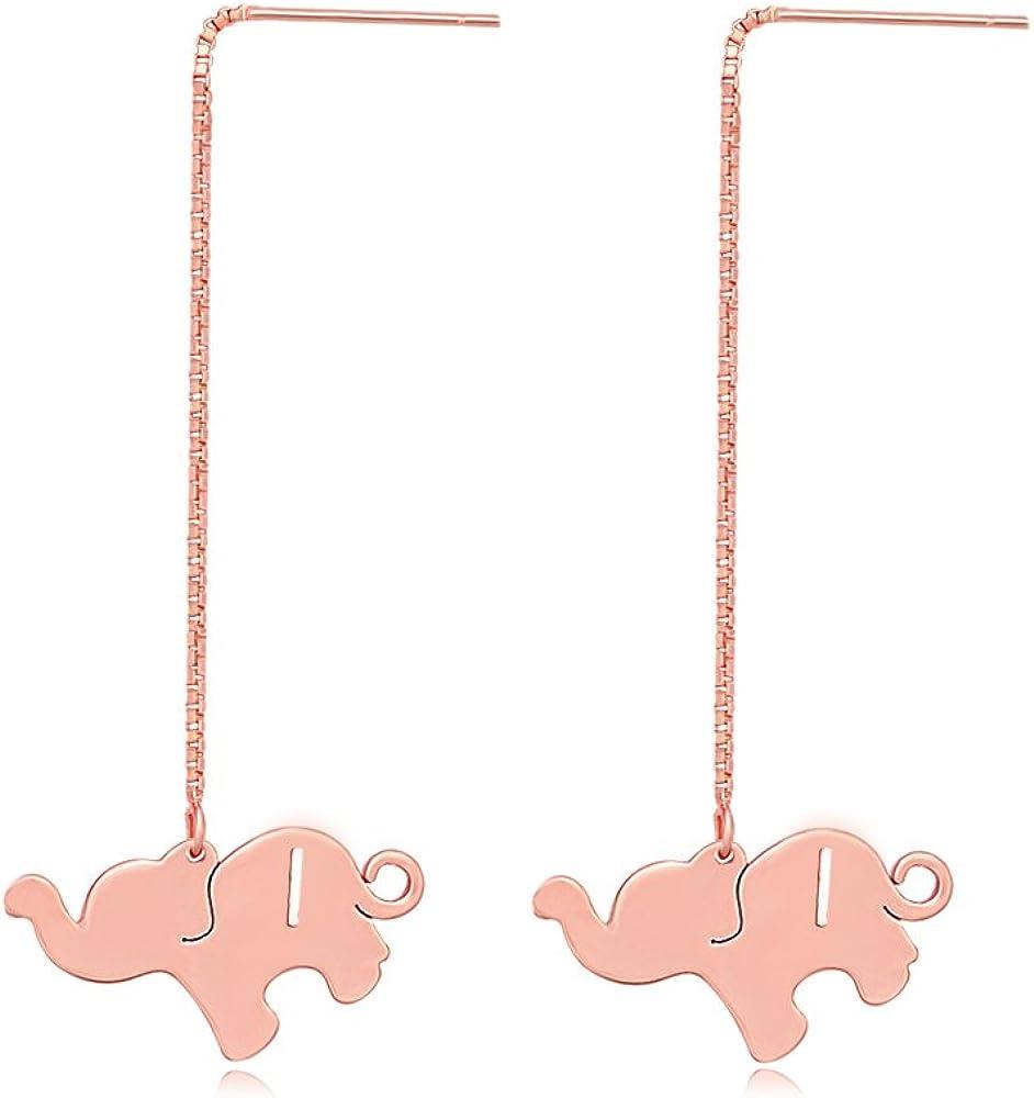 TUSHUO Alphabet Elephant Earrings Rose Gold Dangle Style Hollow 26 Letters Elephant Chain Earrings (I)
