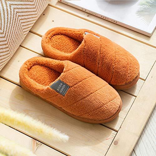 Zapatillas Casa Hombre Mujer Invierno Zapatillas De Mujer Zapatillas De Felpa A Rayas Zapatillas Suaves Zapatillas De Interior Antideslizantes para El Hogar Zapatos De Pareja para Mujer-Orange_9