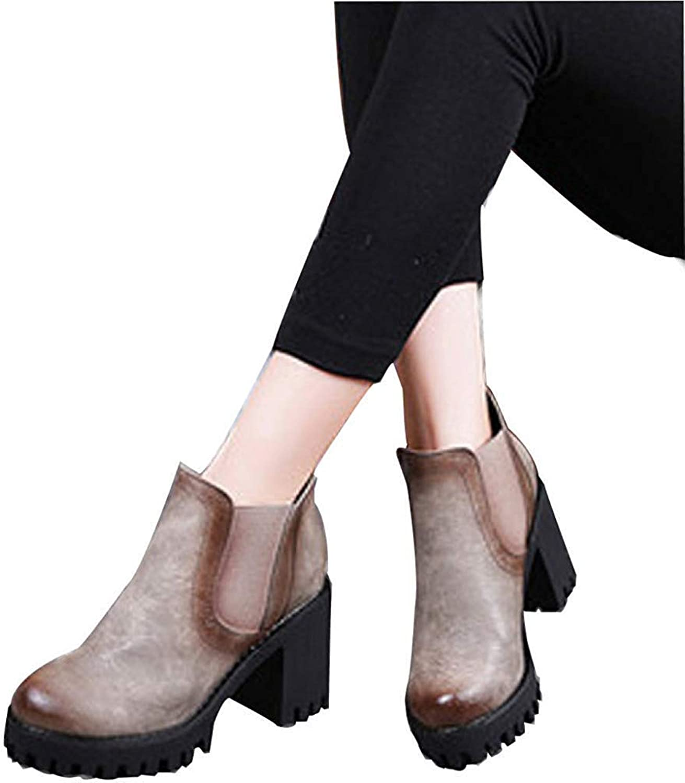 Qiusa Weibliche Herbst Und Winter Leder High Heels Stiefeletten Baumwolle Schuhe (Farbe   6, Größe   34EU)