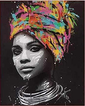 AHJJK Pintar por Numeros Turbante Colorido de Las Mujeres Pintura al óleo Bricolaje para Regalos para niños Adultos Decoraciones para el Hogar Regalo Hecho a Mano 40x50cm - Sin Marco