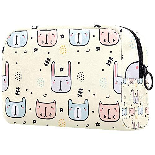 Bolsa de maquillaje personalizable, portátil, para mujer, bolso de mano, organizador de viaje, diseño de garabatos infantil
